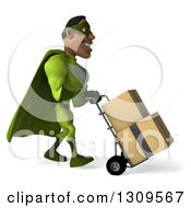 Clipart Of A 3d Buff Male Black Super Hero In Green Facing Left And Moving Boxes On A Dolly Royalty Free Illustration by Julos