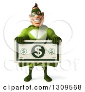 Clipart Of A 3d White Super Hero Man In A Green Costume Holding A Giant Dollar Bill Royalty Free Illustration by Julos