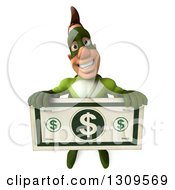 Clipart Of A 3d White Super Hero Man In A Green Costume Holding Up A Giant Dollar Bill Royalty Free Illustration by Julos
