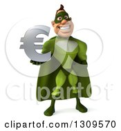 Clipart Of A 3d White Super Hero Man In A Green Costume Holding A Euro Symbol Royalty Free Illustration by Julos