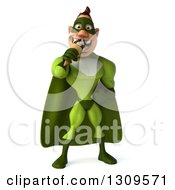 Clipart Of A 3d White Super Hero Man In A Green Costume Eating A Waffle Ice Cream Cone Royalty Free Illustration by Julos