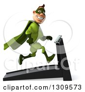 Clipart Of A 3d White Super Hero Man In A Green Costume Smiling Facing Right And Running On A Treadmill Royalty Free Illustration by Julos