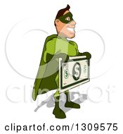 Clipart Of A Cartoon Green White Male Super Hero Facing Right And Holding A Giant Dollar Bill Royalty Free Illustration