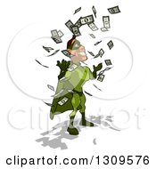 Clipart Of A Cartoon Green White Male Super Hero Facing Right And Making It Rain Cash Money Royalty Free Illustration