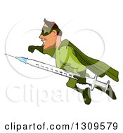 Clipart Of A Cartoon Green White Male Super Hero Flying To The Left With A Vaccine Syringe Royalty Free Illustration