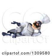 Clipart Of A 3d Caucasian Male Super Chef With A Mustache Wearing A Blue And White Suit And Resting On His Side While Presenting Royalty Free Illustration