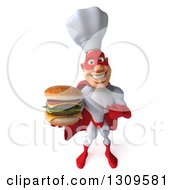 Clipart Of A 3d Caucasian Male Super Chef In A Red And White Costume Holding Up A Double Cheeseburger Royalty Free Illustration