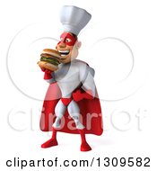 Clipart Of A 3d Caucasian Male Super Chef In A Red And White Costume Facing Slightly Left And Eating A Double Cheeseburger Royalty Free Illustration