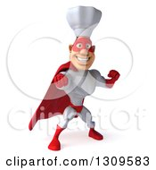 Clipart Of A 3d Caucasian Male Super Chef In A Red And White Costume Punching Royalty Free Illustration
