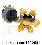 Clipart Of A 3d Happy Sun Character Wearing Sunglasses Holding And Pointing To A Blackberry Royalty Free Illustration