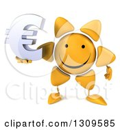 Clipart Of A 3d Happy Sun Character Holding A Euro Symbol Royalty Free Illustration