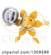 Clipart Of A 3d Happy Sun Character Jumping And Holding An Email Arobase Royalty Free Illustration
