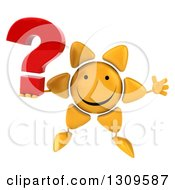 Clipart Of A 3d Happy Sun Character Jumping And Holding A Question Mark Royalty Free Illustration