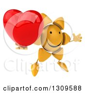 Clipart Of A 3d Happy Sun Character Facing Slightly Right Jumping And Holding A Red Love Heart Royalty Free Illustration