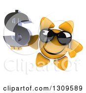 Clipart Of A 3d Happy Sun Character Wearing Sunglasses Holding And Pointing To A Dollar Symbol Royalty Free Illustration