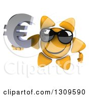 Clipart Of A 3d Happy Sun Character Wearing Sunglasses And Holding A Euro Symbol Royalty Free Illustration