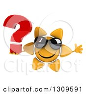 Clipart Of A 3d Happy Sun Character Wearing Sunglasses Jumping And Holding A Question Mark Royalty Free Illustration