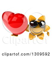 Clipart Of A 3d Happy Sun Character Wearing Sunglasses And Holding Up A Red Love Heart Royalty Free Illustration