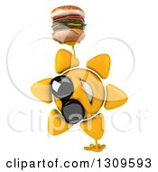 Clipart Of A 3d Happy Sun Character Wearing Sunglasses Cartwheeling And Holding A Double Cheeseburger Royalty Free Illustration