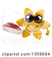 Clipart Of A 3d Happy Sun Character Wearing Sunglasses And Holding A Beef Steak Royalty Free Illustration