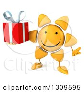 Clipart Of A 3d Happy Sun Character Shrugging And Holding A Gift Royalty Free Illustration