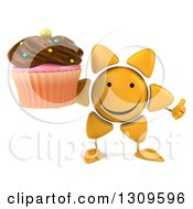 Clipart Of A 3d Happy Sun Character Giving A Thumb Up And Holding A Chocolate Frosted Cupcake Royalty Free Illustration