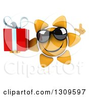 Clipart Of A 3d Happy Sun Character Wearing Sunglasses Holding Up A Finger And A Gift Royalty Free Illustration