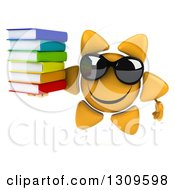Clipart Of A 3d Happy Sun Character Wearing Sunglasses And Holding A Stack Of Books Royalty Free Illustration