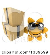 Clipart Of A 3d Happy Sun Character Wearing Sunglasses And Holding Up Boxes Royalty Free Illustration