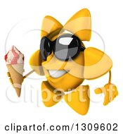 Clipart Of A 3d Happy Sun Character Wearing Sunglasses Facing Left And Holding A Waffle Ice Cream Cone Royalty Free Illustration
