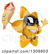 Clipart Of A 3d Happy Sun Character Wearing Sunglasses Facing Right Jumping And Holding A Waffle Ice Cream Cone Royalty Free Illustration