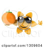 Clipart Of A 3d Happy Sun Character Wearing Sunglasses Jumping And Holding A Navel Orange Royalty Free Illustration