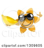 Clipart Of A 3d Happy Sun Character Wearing Sunglasses Holding Up A Finger And A Banana Royalty Free Illustration