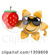Clipart Of A 3d Happy Sun Character Wearing Sunglasses And Holding A Strawberry Royalty Free Illustration