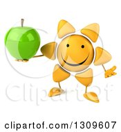 Clipart Of A 3d Happy Sun Character Shrugging And Holding A Green Apple Royalty Free Illustration