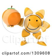 Clipart Of A 3d Happy Sun Character Holding And Pointing To A Navel Orange Royalty Free Illustration