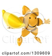 Clipart Of A 3d Happy Sun Character Facing Slightly Right Jumping And Holding A Banana Royalty Free Illustration