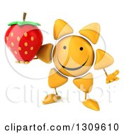 Clipart Of A 3d Happy Sun Character Shrugging And Holding A Strawberry Royalty Free Illustration
