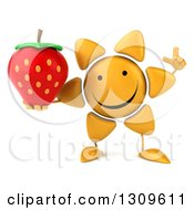 Clipart Of A 3d Happy Sun Character Holding Up A Finger And A Strawberry Royalty Free Illustration