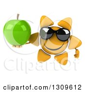 Clipart Of A 3d Happy Sun Character Wearing Sunglasses And Holding A Green Apple Royalty Free Illustration