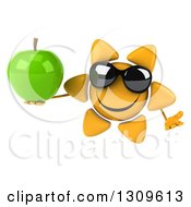 Clipart Of A 3d Happy Sun Character Wearing Sunglasses Shrugging And Holding A Green Apple Royalty Free Illustration