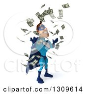 Clipart Of A 3d Caucasian Blue Male Super Hero Facing Right And Making It Rain Money Royalty Free Illustration