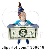 Clipart Of A 3d Caucasian Blue Male Super Hero Holding Up A Giant Dollar Bill Royalty Free Illustration