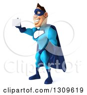 Clipart Of A 3d Caucasian Blue Male Super Hero Facing Left And Holding Out A Business Card Royalty Free Illustration