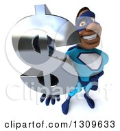 Clipart Of A 3d Buff Black Super Hero Man In A Blue Costume Holding Up A Dollar Symbol Royalty Free Illustration