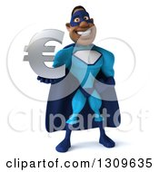 Clipart Of A 3d Buff Black Super Hero Man In A Blue Costume Holding A Euro Symbol Royalty Free Illustration
