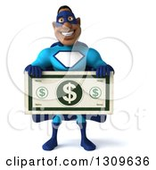 Clipart Of A 3d Buff Black Super Hero Man In A Blue Costume Holding A Giant Dollar Bill Royalty Free Illustration