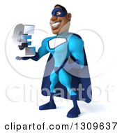 Clipart Of A 3d Buff Black Super Hero Man In A Blue Costume Facing Slightly Left And Holding A Euro Symbol Royalty Free Illustration
