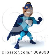 Clipart Of A 3d Buff Black Super Hero Man In A Blue Costume Punching Royalty Free Illustration