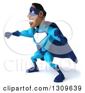 Clipart Of A 3d Buff Black Super Hero Man In A Blue Costume Facing Left And Punching Royalty Free Illustration